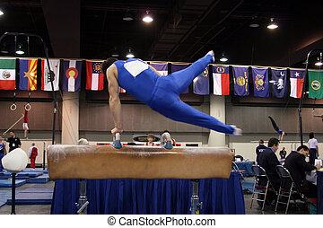 Gymnast on pommel - Boy competing on pommel
