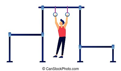 Gymnast on rings vector illustration.