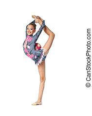 gymnast, professionell, stå, spagat, ung