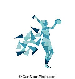 Gymnast with ball Art gymnastics abstract vector background illustration made of polygon fragments isolated