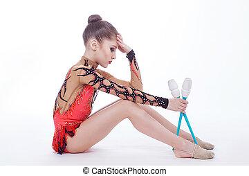 gymnaste, assied, plancher