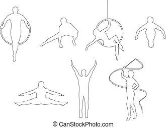 gymnaste, dessin ligne
