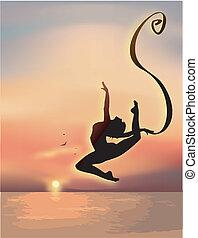 gymnaste, exercisme, mer