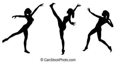 gymnaste féminin, silhouettes, -, 1