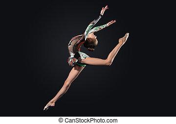 gymnaste, femme, poser, jeune, complet