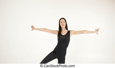 gymnaste, ficelle, vertical, air