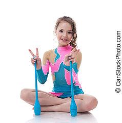 gymnaste, gai, peu, poser, macis