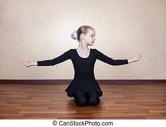 gymnaste, peu, plancher, girl, séance
