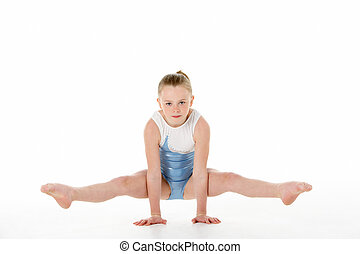 gymnaste, portrait, studio, jeune, femme