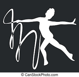 gymnaste, silhouette, noir