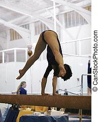 gymnaste, sur, faisceau