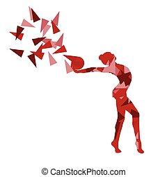 gymnaste, vecteur, fragments, isolé, fond, gymnastique, balle, fait, illustration, polygone, art abstrait