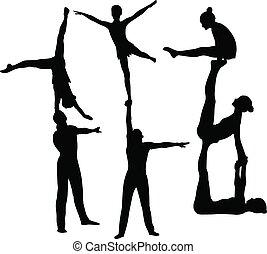gymnastes, acrobates