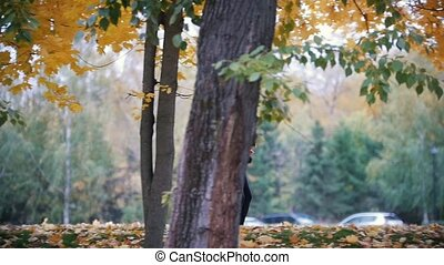 Gymnastic girls running in the autumn park. Side angle