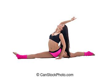 gymnastics., 심상, 여자, gracefully, 뻗는 것