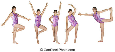 Gymnastics - 12 year old caucasian girl in several ...