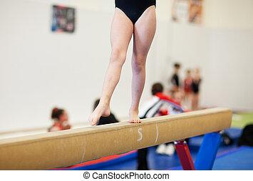 Gymnastics - A gymnastics competitor on the balance beam.