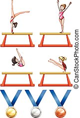 Gymnastics and woman athletes