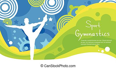 Gymnastics Athlete Sport Competition Colorful Banner Flat...
