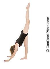 Gymnastics - Caucasian teenage girl in gymnastic poses on ...