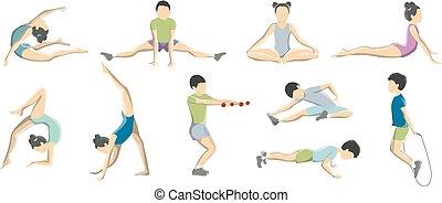 gymnastics., ensemble, enfants, gosse, étirage