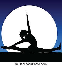 gymnastics in the moonlight illustration