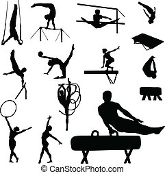 gymnastics man and woman vector silhouettes
