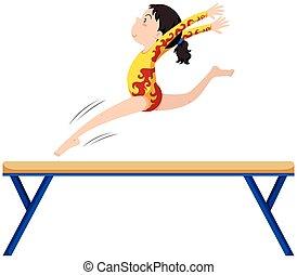 Gymnastics on balance beam