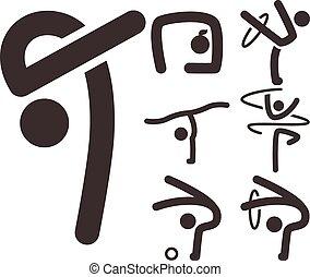 Gymnastics Rhythmic icons set
