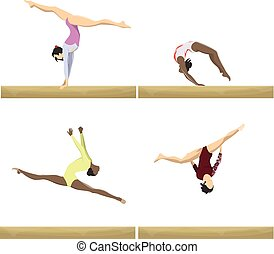 Gymnastics with beam.