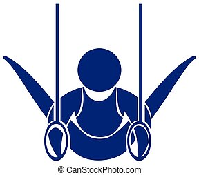 Gymnastics with rings icon in blue