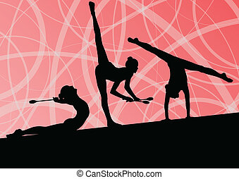 gymnastiek, sportende, gymnasts, abstract, meiden, jonge,...