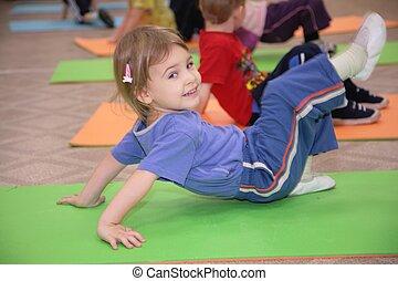 gymnastik, 3, upptagen, flicka