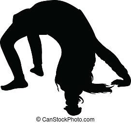 gymnastik, litet, silhuett, flicka, v