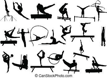 gymnastikker, silhuetter