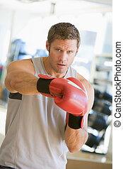 gymnastiksal, boxning, man