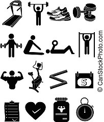 gymnastiksal, fitness, ikonen, sätta