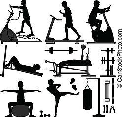 gymnastiksal, gymnastiksal, genomkörare, övning, man