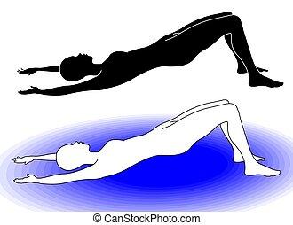 gymnastiksal, korrekt, ställning, för, pilate