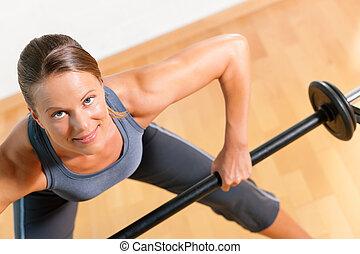 gymnastiksal, kvinna, barbell