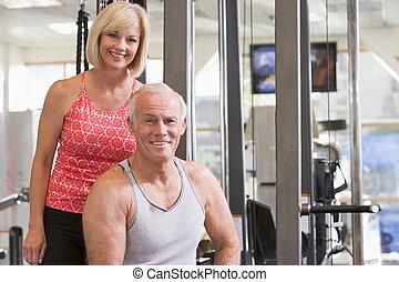 gymnastiksal, kvinna, tillsammans, man