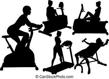 gymnastiksal, kvinnor, genomkörare, övning, fitness