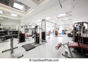 gymnastiksal, med, speciell, utrustning, tom