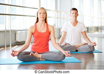 gymnastiksal, meditera
