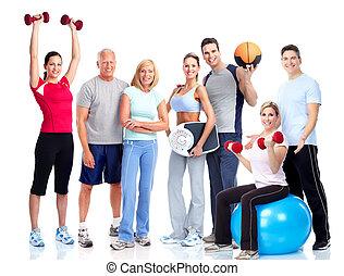 gymnastiksal, och, fitness., le, folk.