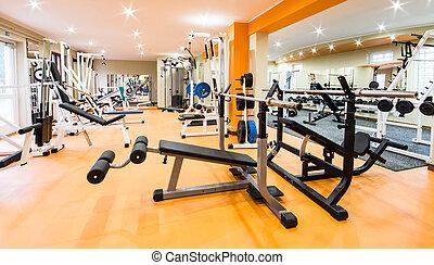 gymnastiksal, och, fitness, room.