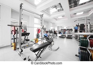 gymnastiksal, speciell, utrustning, tom