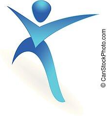 gymnastiksal, vektor, konstruktion, duelighed, logo, sport, mand