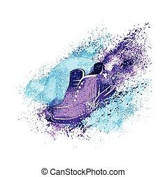 gymnastiksko, begrepp, springa, skor, plaska, måla, vektor