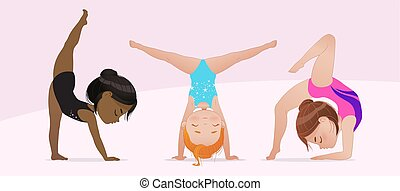 gymnastique, arrière-plan., exercising., beau, exercises., filles, isolé, multiculturel, gymnaste, étirage, illustration, pose., rythmique, yoga, sportifs, kids., groupe, flexible, vecteur, blanc